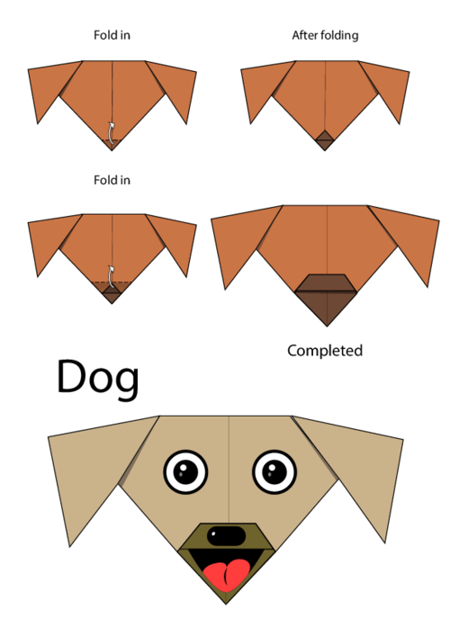 instructions for origami dog face